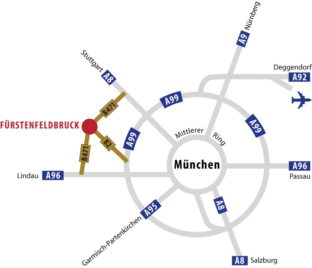 Lageplan von Fürstenfeldbruck