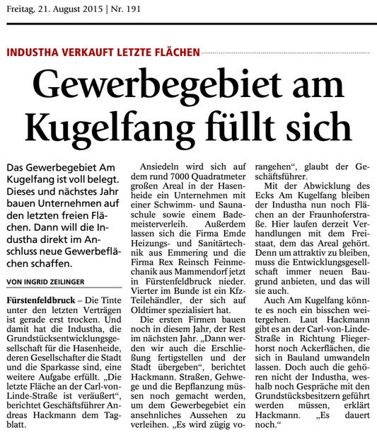 FFB Tagblatt von 2015 über das Gewerbegebiet